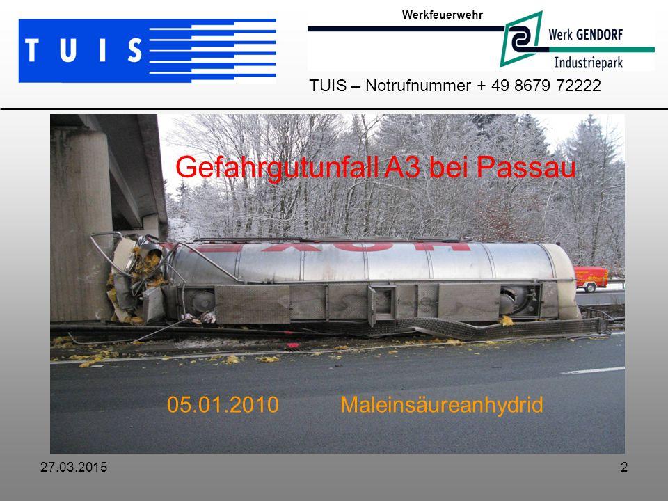 27.03.20152 Werkfeuerwehr TUIS – Notrufnummer + 49 8679 72222 Gefahrgutunfall A3 bei Passau 05.01.2010 Maleinsäureanhydrid
