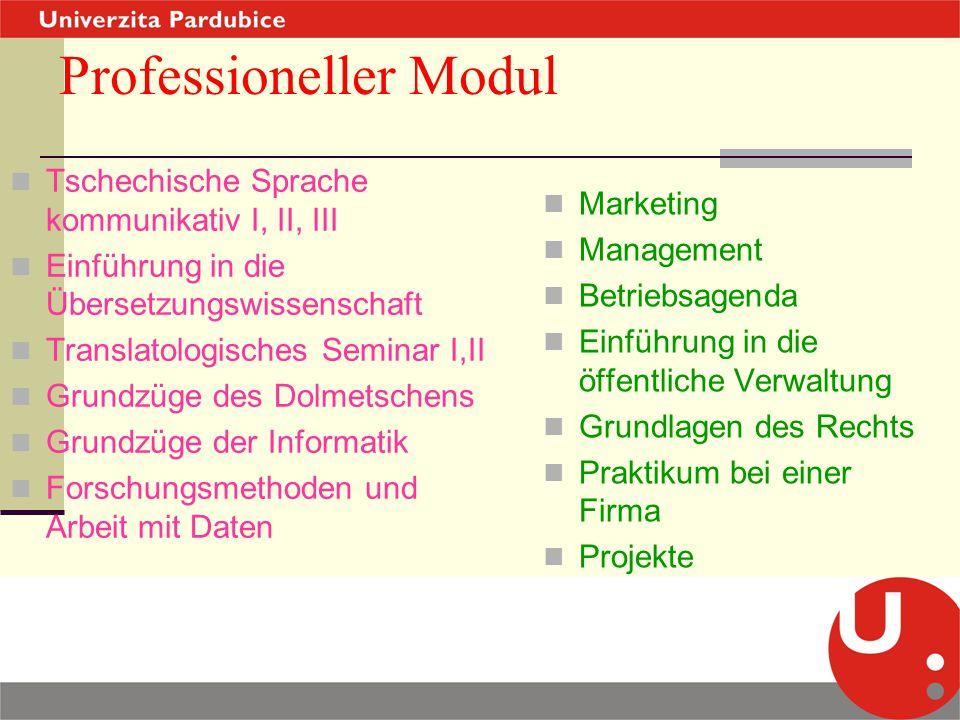 Professioneller Modul Tschechische Sprache kommunikativ I, II, III Einführung in die Übersetzungswissenschaft Translatologisches Seminar I,II Grundzüg