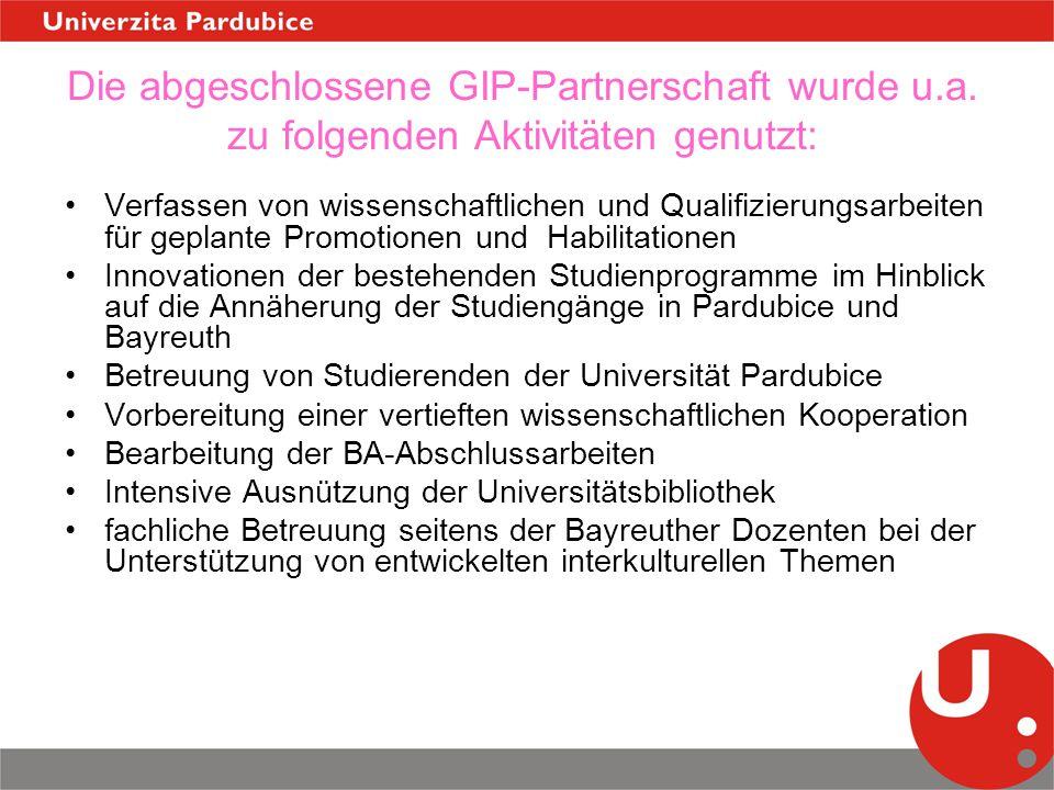 Die abgeschlossene GIP-Partnerschaft wurde u.a. zu folgenden Aktivitäten genutzt: Verfassen von wissenschaftlichen und Qualifizierungsarbeiten für gep