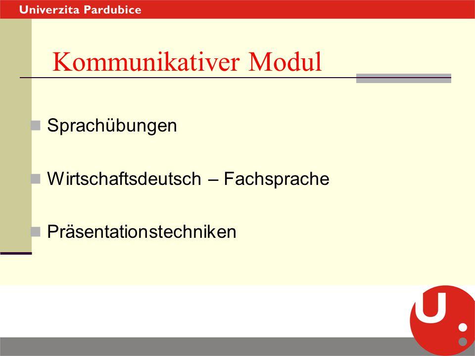 Kommunikativer Modul Sprachübungen Wirtschaftsdeutsch – Fachsprache Präsentationstechniken