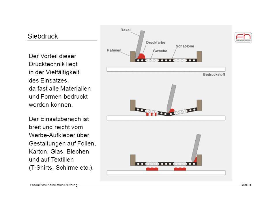 Seite 15 Produktion / Kalkulation / Nutzung Siebdruck Der Einsatzbereich ist breit und reicht vom Werbe-Aufkleber über Gestaltungen auf Folien, Karton