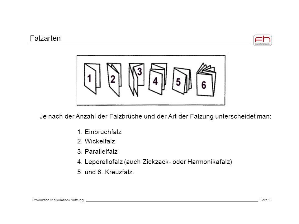 Seite 18 Produktion / Kalkulation / Nutzung Je nach der Anzahl der Falzbrüche und der Art der Falzung unterscheidet man: 1. Einbruchfalz 2. Wickelfalz