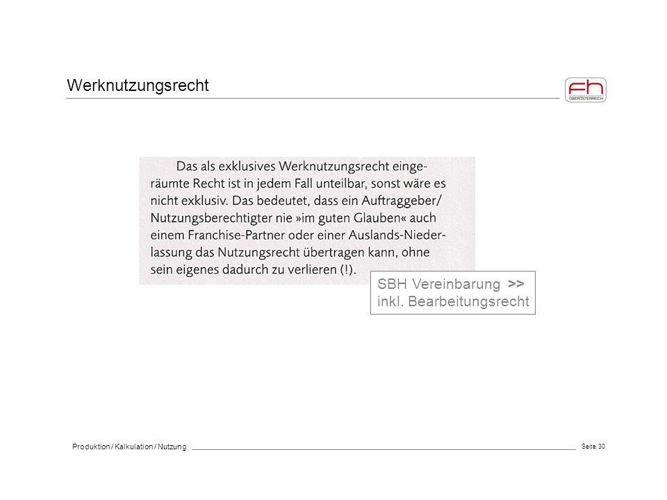 Seite 30 Produktion / Kalkulation / Nutzung Werknutzungsrecht SBH Vereinbarung >> inkl. Bearbeitungsrecht
