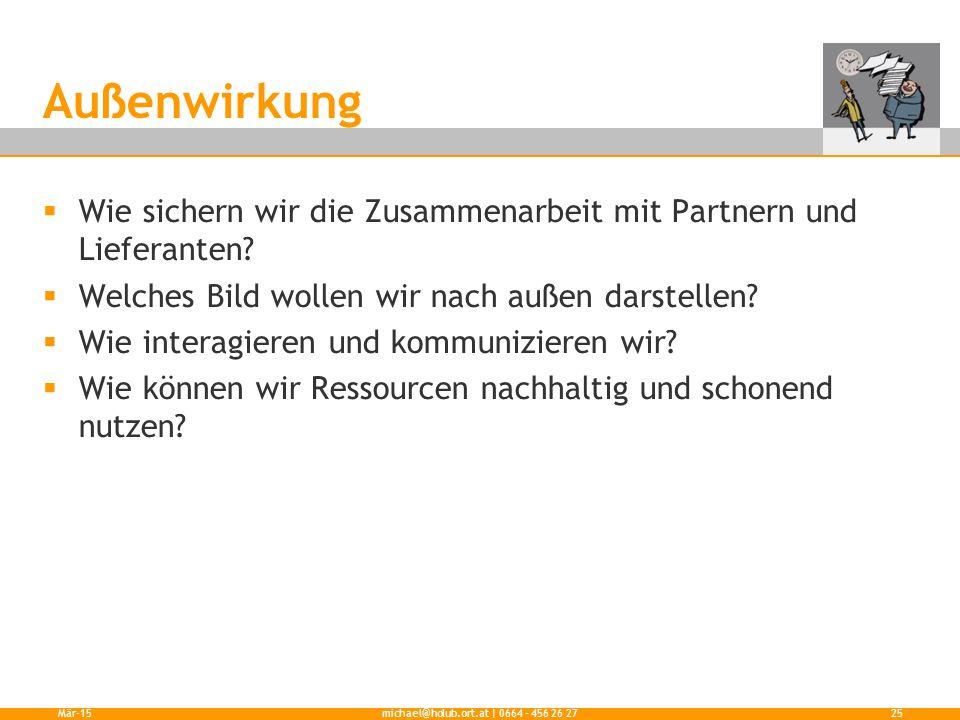 Außenwirkung  Wie sichern wir die Zusammenarbeit mit Partnern und Lieferanten?  Welches Bild wollen wir nach außen darstellen?  Wie interagieren un
