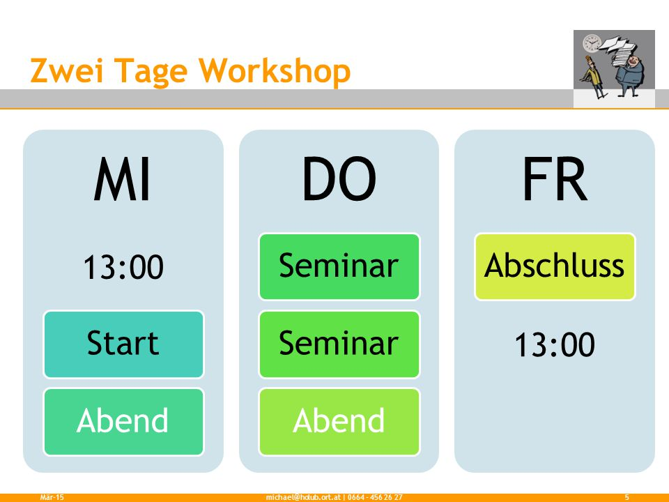 Zwei Tage Workshop Mär-15michael@holub.ort.at | 0664 - 456 26 275 MI Start Abend DO Seminar Abend FR Abschluss 13:00