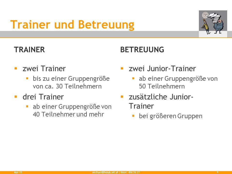 TRAINER  zwei Trainer  bis zu einer Gruppengröße von ca. 30 Teilnehmern  drei Trainer  ab einer Gruppengröße von 40 Teilnehmer und mehr BETREUUNG