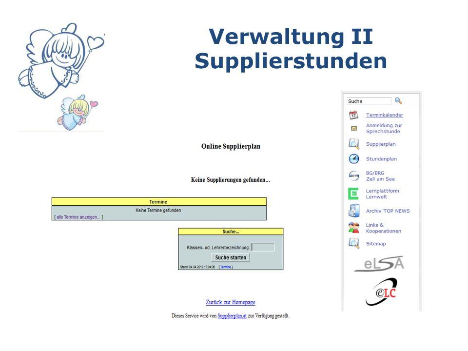Verwaltung II Supplierstunden