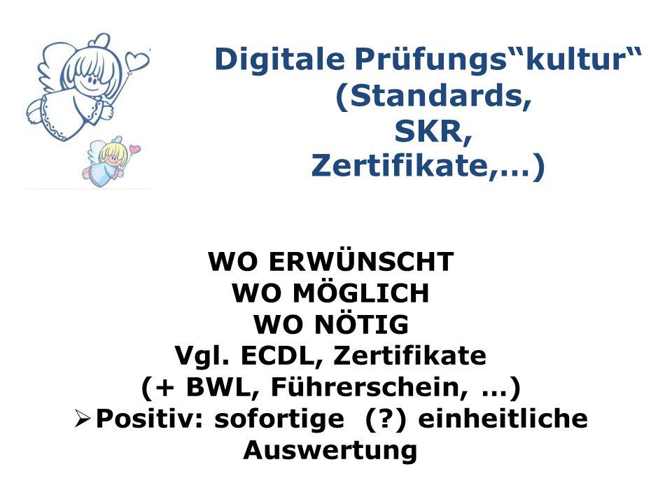 Digitale Prüfungs kultur (Standards, SKR, Zertifikate,…) WO ERWÜNSCHT WO MÖGLICH WO NÖTIG Vgl.