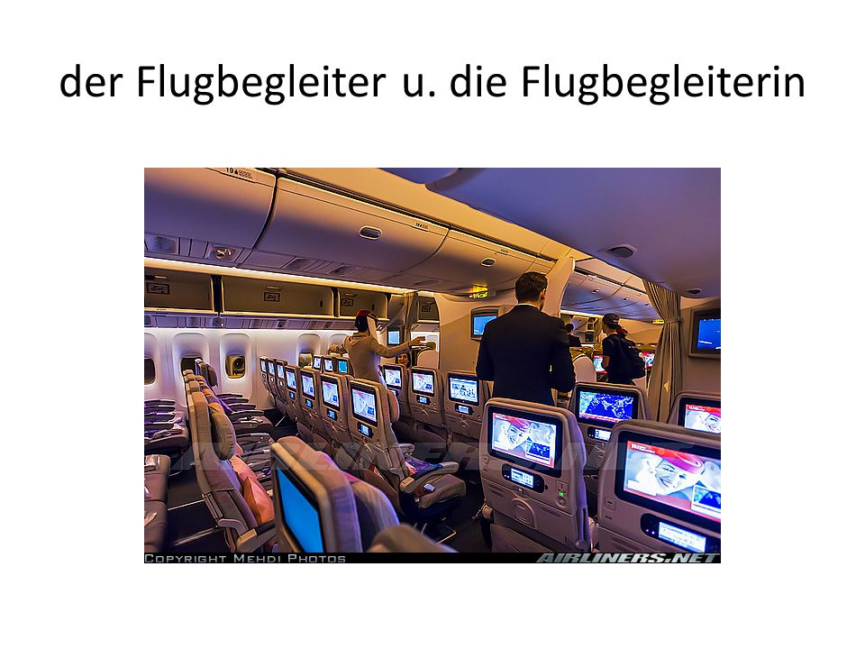 der Flugbegleiter u. die Flugbegleiterin