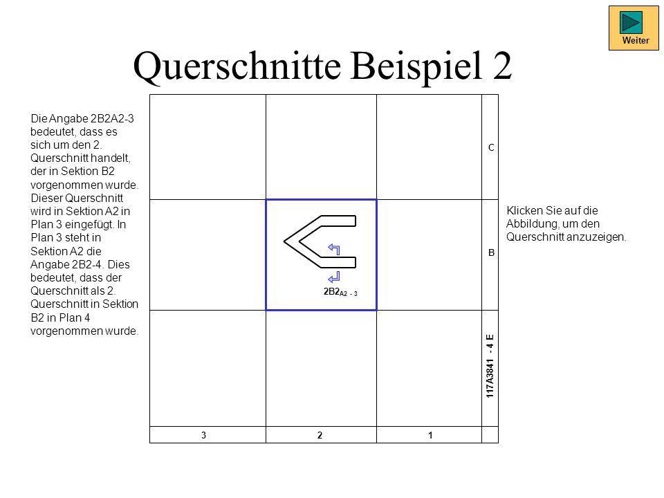 Querschnitte Beispiel 2 Weiter Die Angabe 2B2A2-3 bedeutet, dass es sich um den 2. Querschnitt handelt, der in Sektion B2 vorgenommen wurde. Dieser Qu