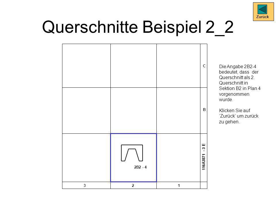 Querschnitte Beispiel 2_2 Zurück Die Angabe 2B2-4 bedeutet, dass der Querschnitt als 2. Querschnitt in Sektion B2 in Plan 4 vorgenommen wurde. Klicken