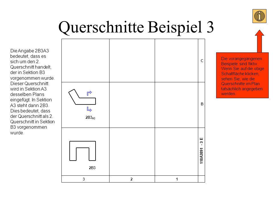 Querschnitte Beispiel 3 C B 321 118A3891 - 3 E 2B3 A3 2B3 Die Angabe 2B3A3 bedeutet, dass es sich um den 2. Querschnitt handelt, der in Sektion B3 vor