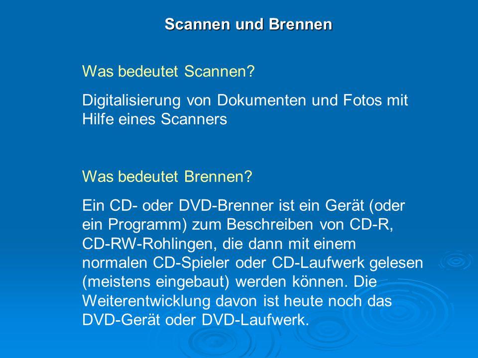 Scannen und Brennen Was bedeutet Scannen? Digitalisierung von Dokumenten und Fotos mit Hilfe eines Scanners Was bedeutet Brennen? Ein CD- oder DVD-Bre