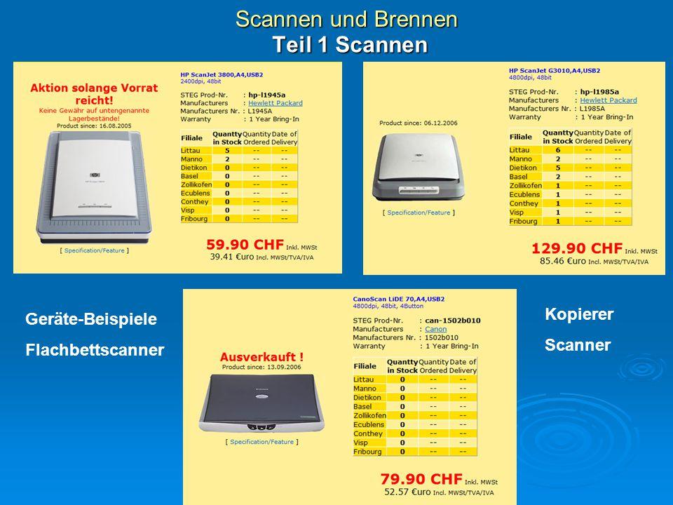Scannen und Brennen Teil 1 Scannen Flachbettscanner Geräte-Beispiele Flachbettscanner Kopierer Scanner