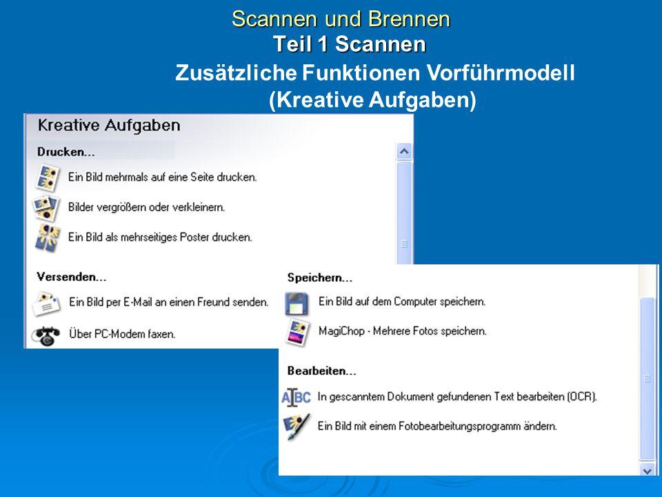 Scannen und Brennen Einstellungen Scanner 72 DPI zur Anzeige auf Bildschirm/Webseite 150 DPI 200 DPI 300 DPI (dots per inch / Bildpunkte pro Zoll) Farbe, Grau, Schwarzweiss 72 bis 19200