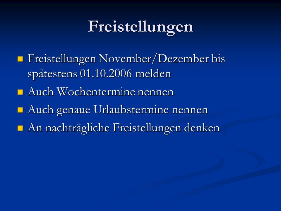 Freistellungen Freistellungen November/Dezember bis spätestens 01.10.2006 melden Freistellungen November/Dezember bis spätestens 01.10.2006 melden Auch Wochentermine nennen Auch Wochentermine nennen Auch genaue Urlaubstermine nennen Auch genaue Urlaubstermine nennen An nachträgliche Freistellungen denken An nachträgliche Freistellungen denken