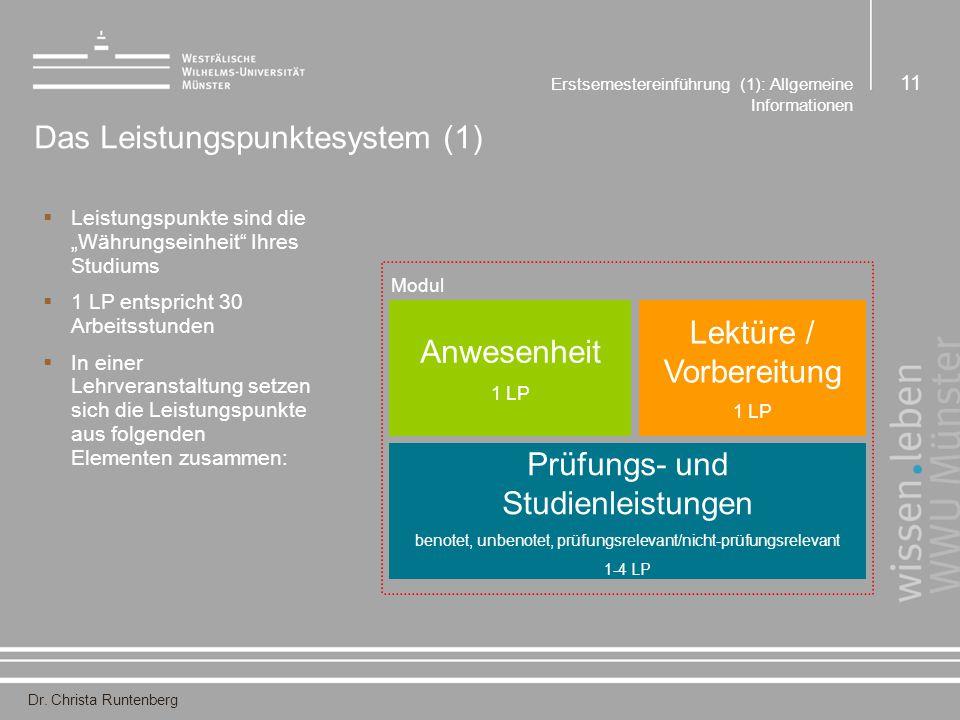 """Dr. Christa Runtenberg Erstsemestereinführung (1): Allgemeine Informationen 11 Das Leistungspunktesystem (1)  Leistungspunkte sind die """"Währungseinhe"""