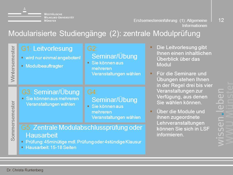 Dr. Christa Runtenberg Erstsemestereinführung (1): Allgemeine Informationen 12 Modularisierte Studiengänge (2): zentrale Modulprüfung G1: Leitvorlesun