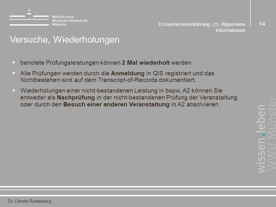 Dr. Christa Runtenberg Erstsemestereinführung (1): Allgemeine Informationen 14 Versuche, Wiederholungen  benotete Prüfungsleistungen können 2 Mal wie