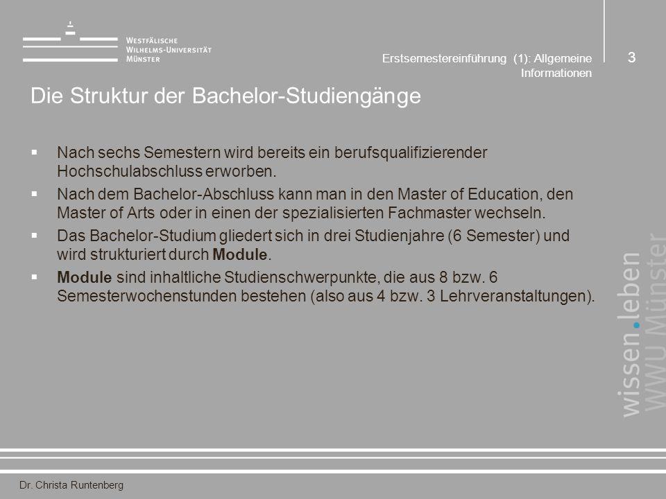 Dr. Christa Runtenberg Erstsemestereinführung (1): Allgemeine Informationen 3 Die Struktur der Bachelor-Studiengänge  Nach sechs Semestern wird berei