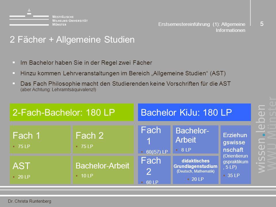 Dr. Christa Runtenberg Erstsemestereinführung (1): Allgemeine Informationen 5 2 Fächer + Allgemeine Studien  Im Bachelor haben Sie in der Regel zwei