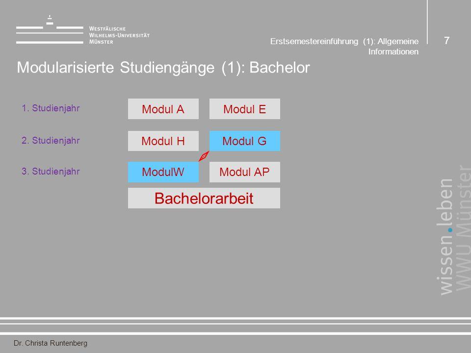 Dr. Christa Runtenberg Erstsemestereinführung (1): Allgemeine Informationen 7 Modularisierte Studiengänge (1): Bachelor 1. Studienjahr Modul AModul E