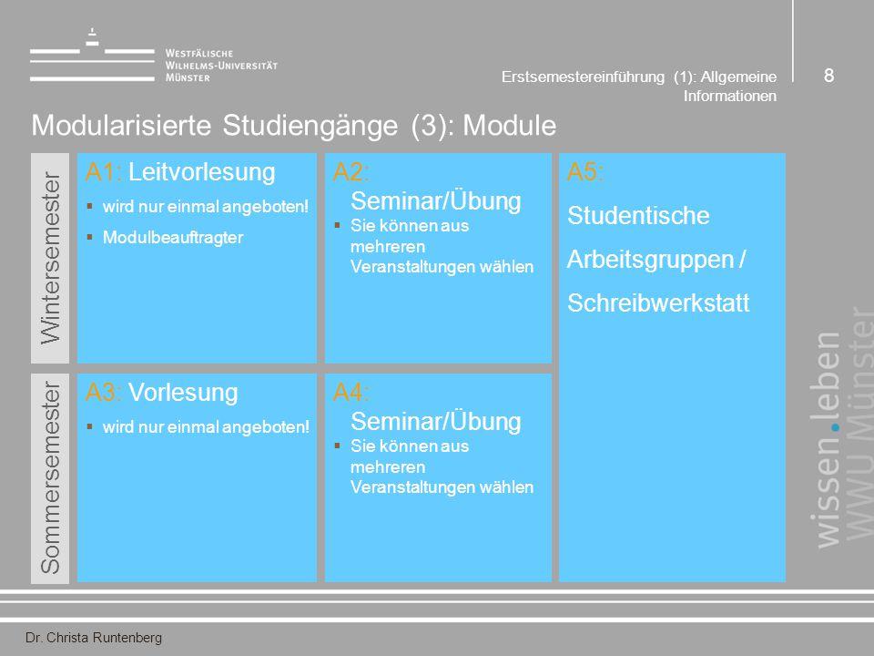 Dr. Christa Runtenberg Erstsemestereinführung (1): Allgemeine Informationen 8 Modularisierte Studiengänge (3): Module A1: Leitvorlesung  wird nur ein