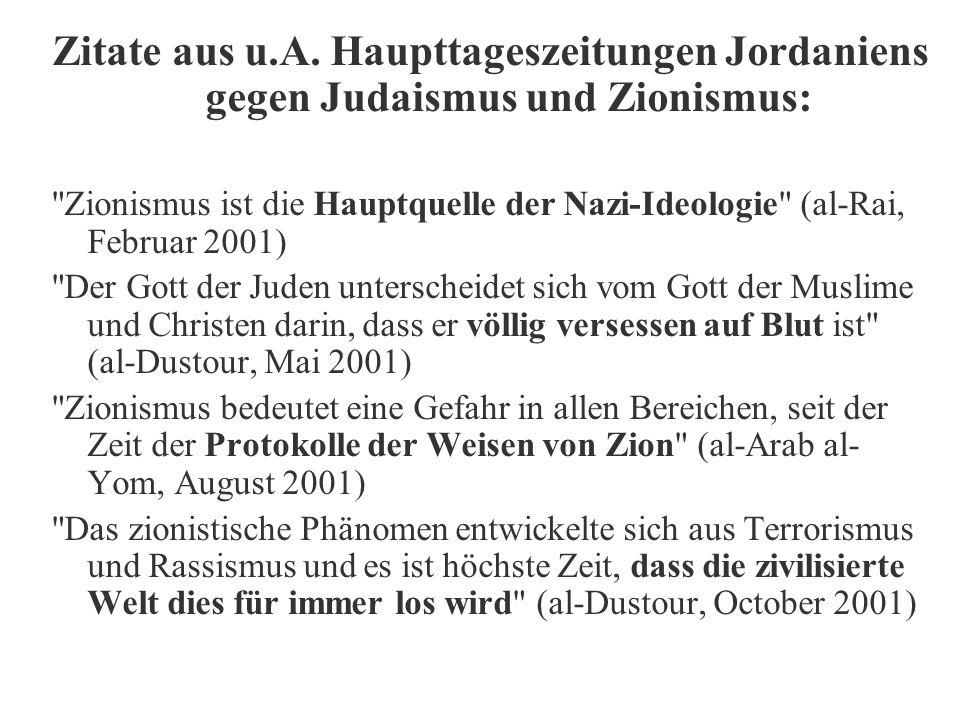 Zitate aus u.A. Haupttageszeitungen Jordaniens gegen Judaismus und Zionismus: