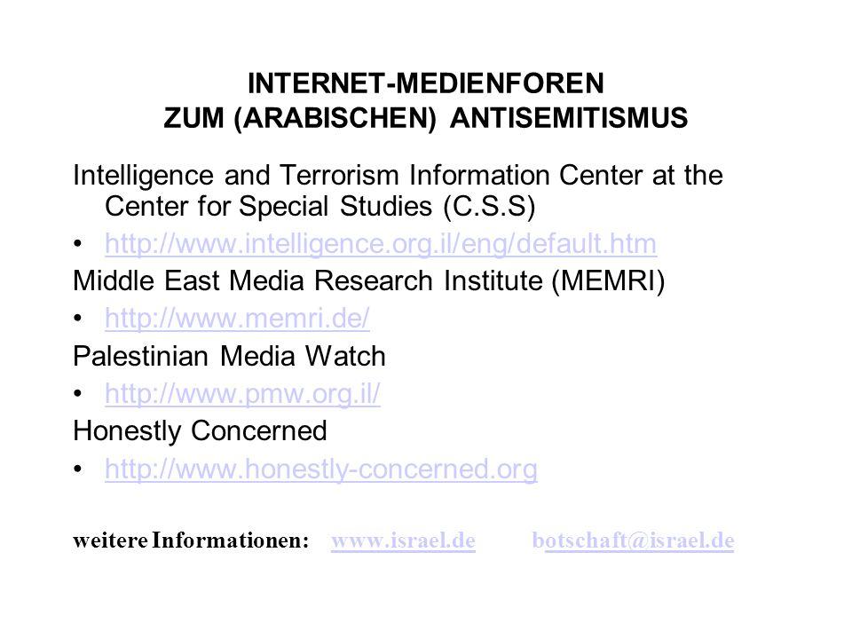 INTERNET-MEDIENFOREN ZUM (ARABISCHEN) ANTISEMITISMUS Intelligence and Terrorism Information Center at the Center for Special Studies (C.S.S) http://ww