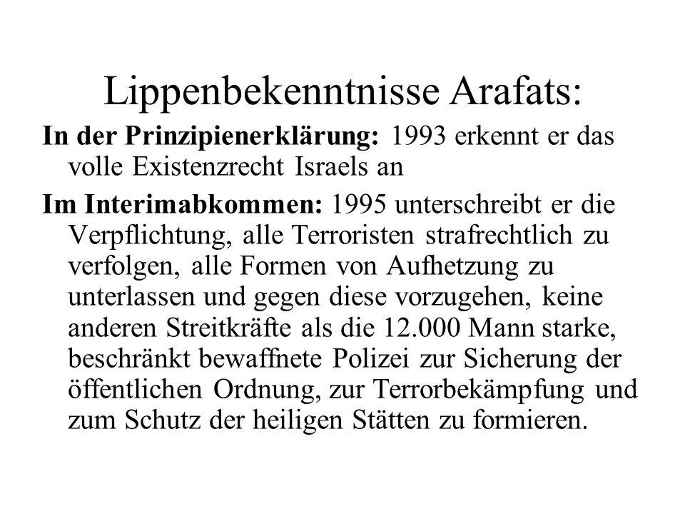 Lippenbekenntnisse Arafats: In der Prinzipienerklärung: 1993 erkennt er das volle Existenzrecht Israels an Im Interimabkommen: 1995 unterschreibt er d