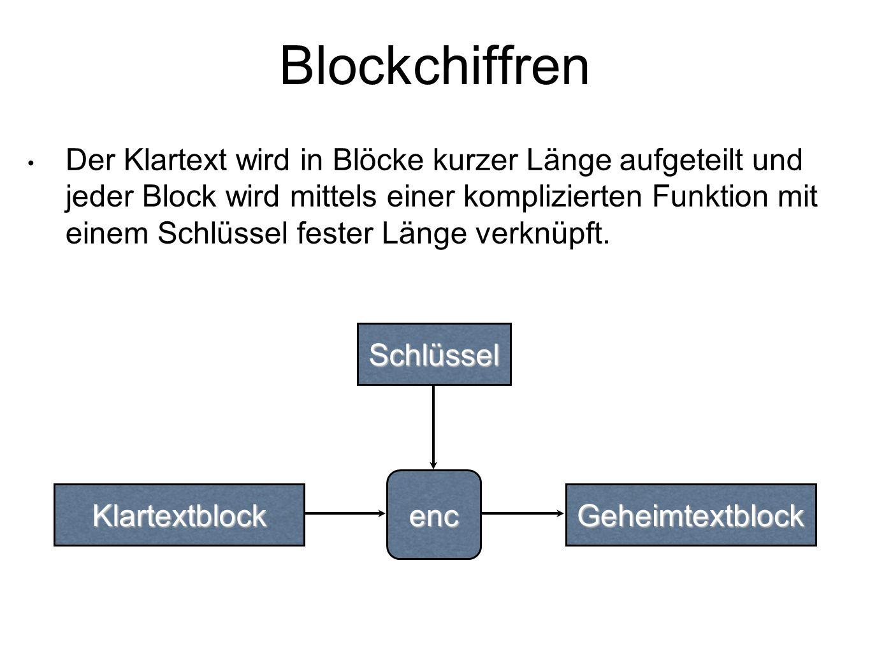 Der Klartext wird in Blöcke kurzer Länge aufgeteilt und jeder Block wird mittels einer komplizierten Funktion mit einem Schlüssel fester Länge verknüpft.