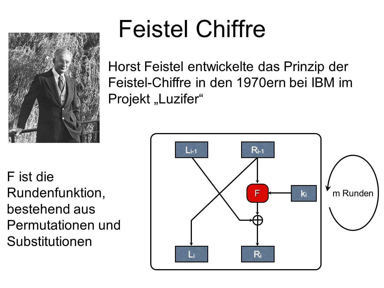"""Feistel Chiffre F kikikiki L i-1 R i-1 LiLiLiLi RiRiRiRi Horst Feistel entwickelte das Prinzip der Feistel-Chiffre in den 1970ern bei IBM im Projekt """"Luzifer m Runden F ist die Rundenfunktion, bestehend aus Permutationen und Substitutionen"""