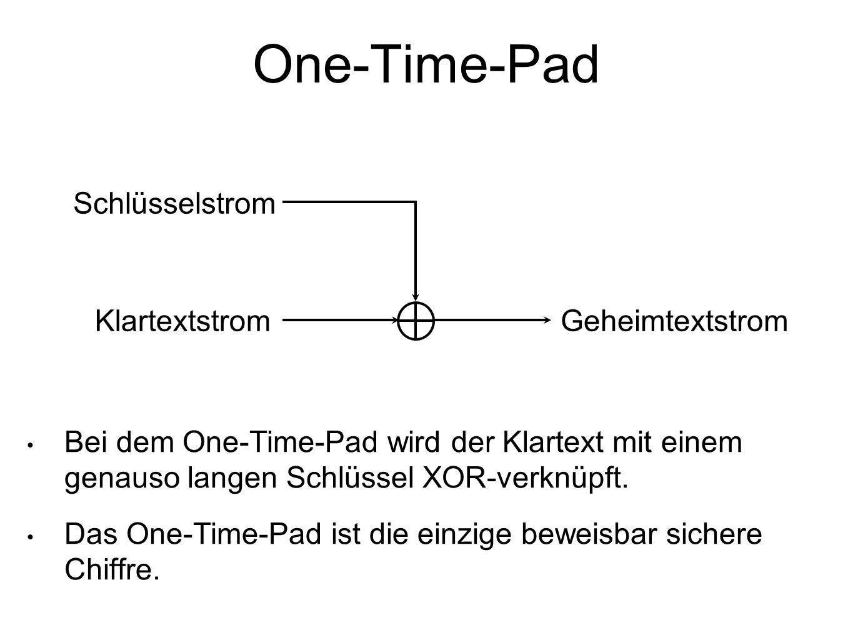 One-Time-Pad Bei dem One-Time-Pad wird der Klartext mit einem genauso langen Schlüssel XOR-verknüpft.
