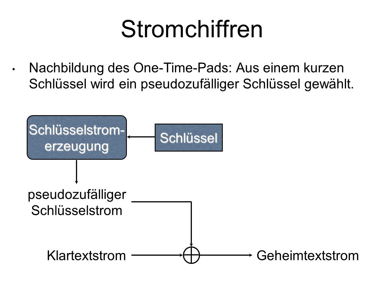 Stromchiffren Nachbildung des One-Time-Pads: Aus einem kurzen Schlüssel wird ein pseudozufälliger Schlüssel gewählt.