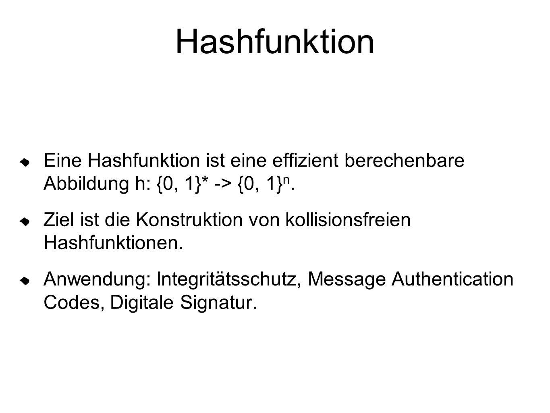 Hashfunktion Eine Hashfunktion ist eine effizient berechenbare Abbildung h: {0, 1}* -> {0, 1} n.