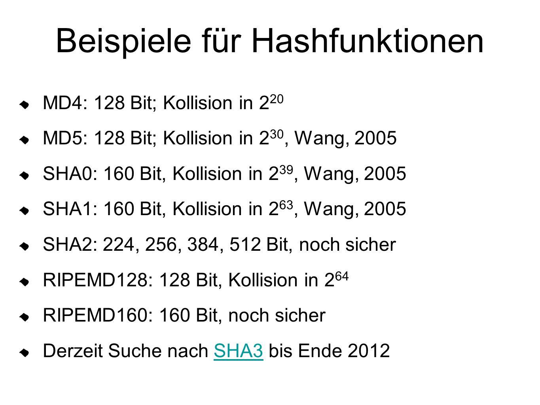 Beispiele für Hashfunktionen MD4: 128 Bit; Kollision in 2 20 MD5: 128 Bit; Kollision in 2 30, Wang, 2005 SHA0: 160 Bit, Kollision in 2 39, Wang, 2005 SHA1: 160 Bit, Kollision in 2 63, Wang, 2005 SHA2: 224, 256, 384, 512 Bit, noch sicher RIPEMD128: 128 Bit, Kollision in 2 64 RIPEMD160: 160 Bit, noch sicher Derzeit Suche nach SHA3 bis Ende 2012SHA3