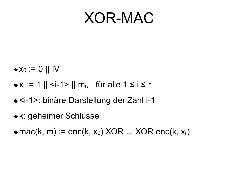 XOR-MAC x 0 := 0 || IV x i := 1 || || m i, für alle 1 ≤ i ≤ r : binäre Darstellung der Zahl i-1 k: geheimer Schlüssel mac(k, m) := enc(k, x 0 ) XOR...