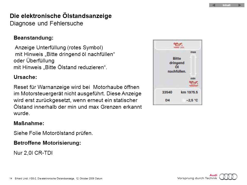 14Erhard Lindl, I/GS-2, Die elektronische Ölstandsanzeige, 12. Oktober 2009 Datum Die elektronische Ölstandsanzeige Diagnose und Fehlersuche Beanstand