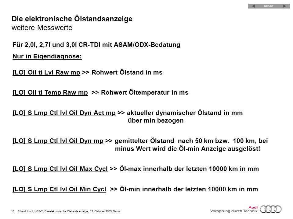 16Erhard Lindl, I/GS-2, Die elektronische Ölstandsanzeige, 12. Oktober 2009 Datum Die elektronische Ölstandsanzeige weitere Messwerte Für 2,0l, 2,7l u