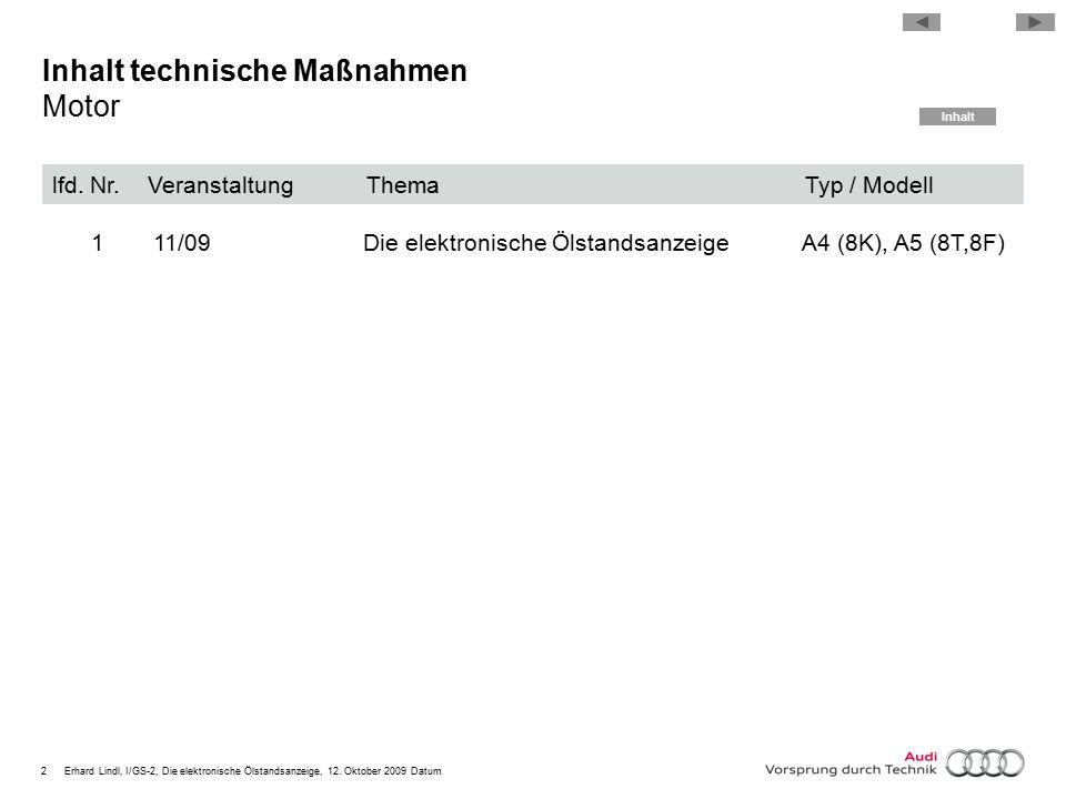 2Erhard Lindl, I/GS-2, Die elektronische Ölstandsanzeige, 12. Oktober 2009 Datum Inhalt technische Maßnahmen Motor lfd. Nr. Veranstaltung Thema Typ /