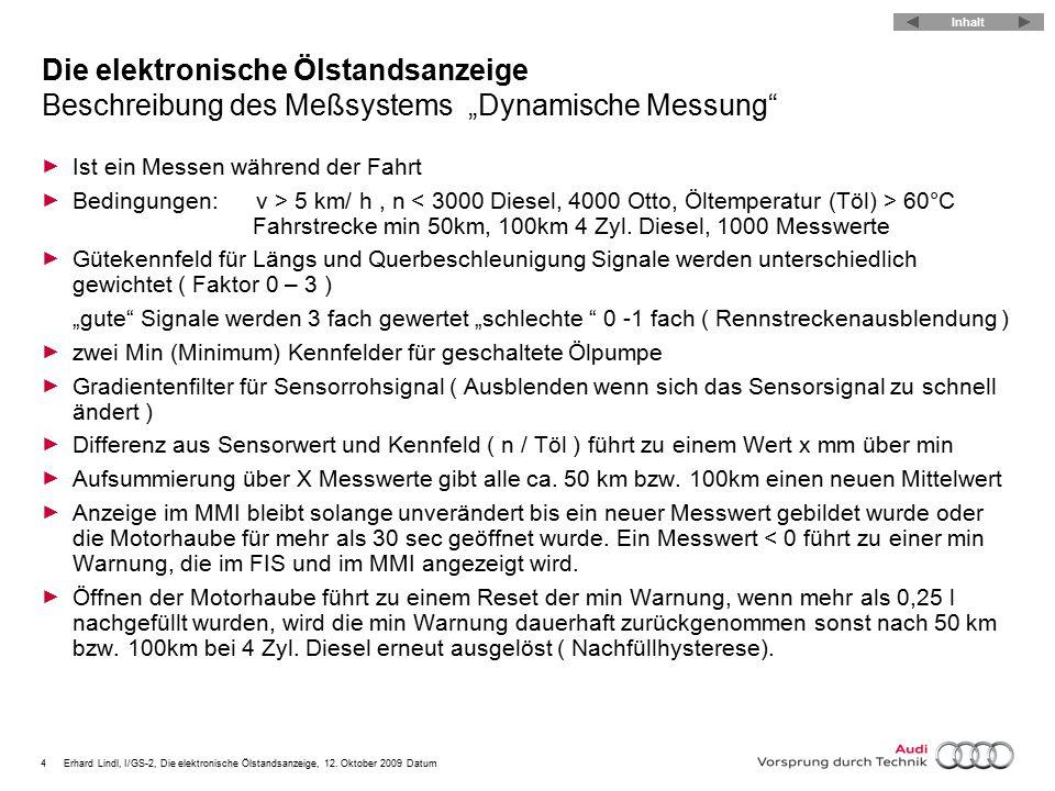 """4Erhard Lindl, I/GS-2, Die elektronische Ölstandsanzeige, 12. Oktober 2009 Datum Die elektronische Ölstandsanzeige Beschreibung des Meßsystems """"Dynami"""