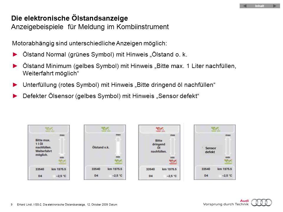 9Erhard Lindl, I/GS-2, Die elektronische Ölstandsanzeige, 12. Oktober 2009 Datum Die elektronische Ölstandsanzeige Anzeigebeispielefür Meldung im Komb