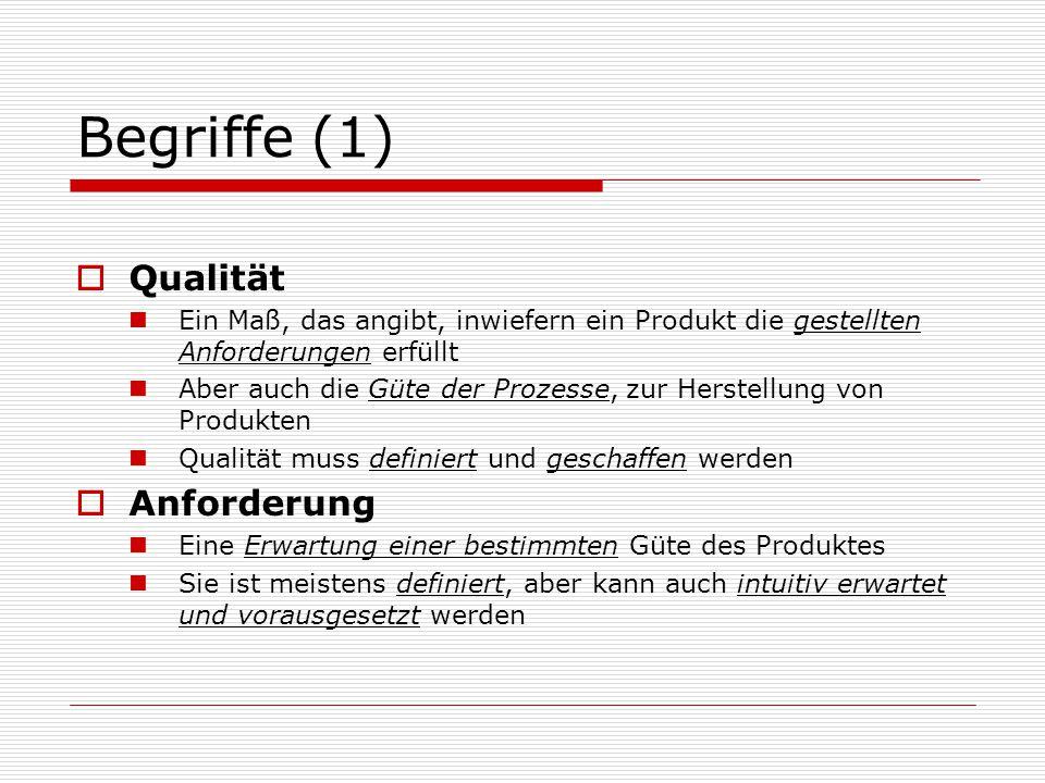 Begriffe (1)  Qualität Ein Maß, das angibt, inwiefern ein Produkt die gestellten Anforderungen erfüllt Aber auch die Güte der Prozesse, zur Herstellung von Produkten Qualität muss definiert und geschaffen werden  Anforderung Eine Erwartung einer bestimmten Güte des Produktes Sie ist meistens definiert, aber kann auch intuitiv erwartet und vorausgesetzt werden