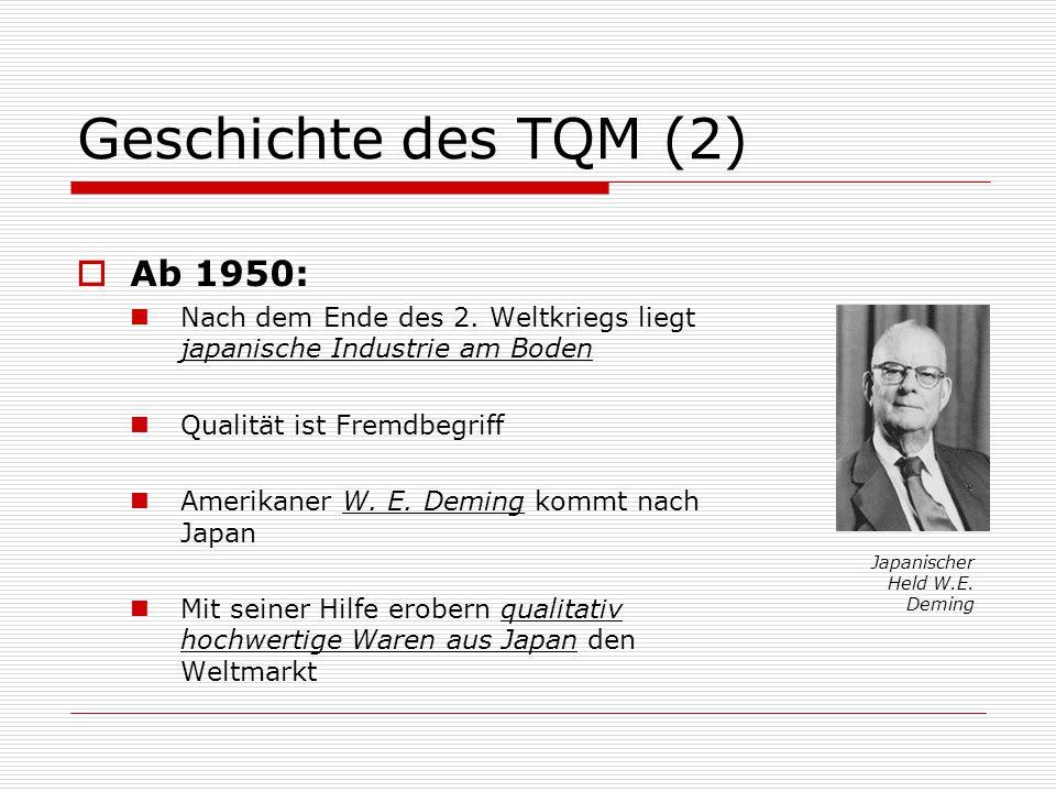 Geschichte des TQM (2)  Ab 1950: Nach dem Ende des 2.