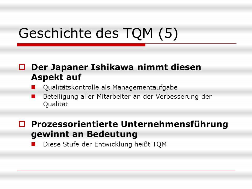 Geschichte des TQM (5)  Der Japaner Ishikawa nimmt diesen Aspekt auf Qualitätskontrolle als Managementaufgabe Beteiligung aller Mitarbeiter an der Verbesserung der Qualität  Prozessorientierte Unternehmensführung gewinnt an Bedeutung Diese Stufe der Entwicklung heißt TQM