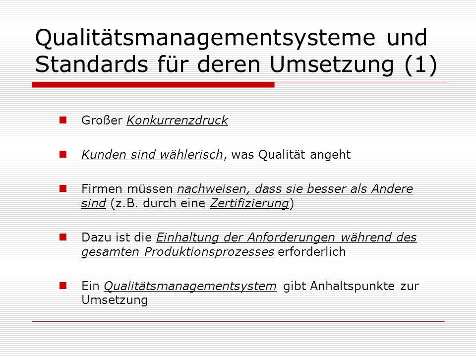 Qualitätsmanagementsysteme und Standards für deren Umsetzung (1) Großer Konkurrenzdruck Kunden sind wählerisch, was Qualität angeht Firmen müssen nachweisen, dass sie besser als Andere sind (z.B.