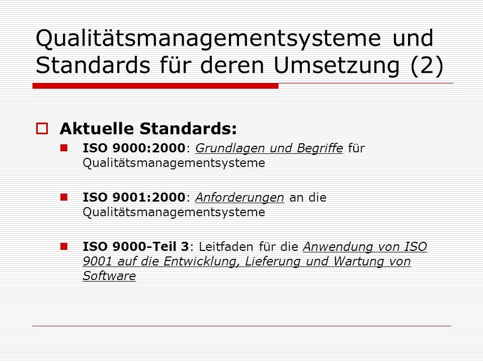 Qualitätsmanagementsysteme und Standards für deren Umsetzung (2)  Aktuelle Standards: ISO 9000:2000: Grundlagen und Begriffe für Qualitätsmanagementsysteme ISO 9001:2000: Anforderungen an die Qualitätsmanagementsysteme ISO 9000-Teil 3: Leitfaden für die Anwendung von ISO 9001 auf die Entwicklung, Lieferung und Wartung von Software