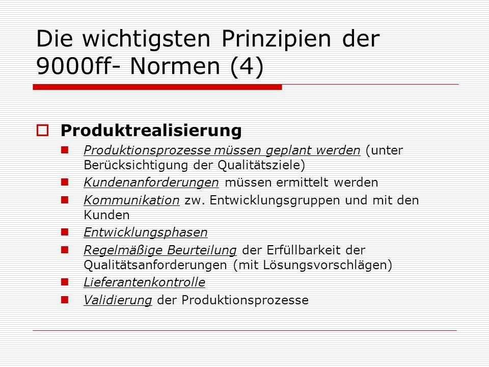 Die wichtigsten Prinzipien der 9000ff- Normen (4)  Produktrealisierung Produktionsprozesse müssen geplant werden (unter Berücksichtigung der Qualitätsziele) Kundenanforderungen müssen ermittelt werden Kommunikation zw.