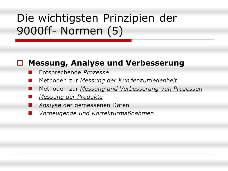 Die wichtigsten Prinzipien der 9000ff- Normen (5)  Messung, Analyse und Verbesserung Entsprechende Prozesse Methoden zur Messung der Kundenzufriedenheit Methoden zur Messung und Verbesserung von Prozessen Messung der Produkte Analyse der gemessenen Daten Vorbeugende und Korrekturmaßnahmen