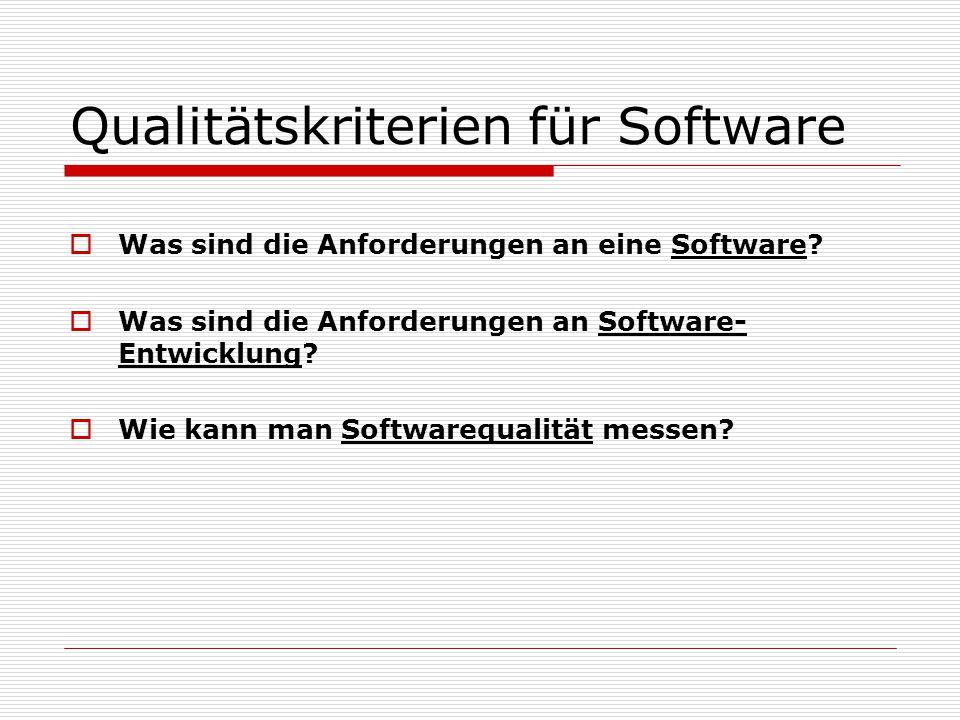 Qualitätskriterien für Software  Was sind die Anforderungen an eine Software.